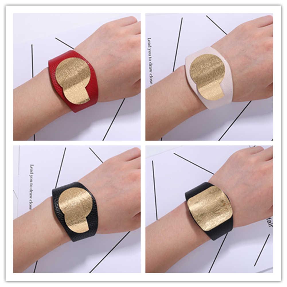 Корейский кожаный браслет для женщин, классическое украшение с кнопкой-защелкой, браслет, модный короткий золотой браслет, ювелирные изделия, путешествия