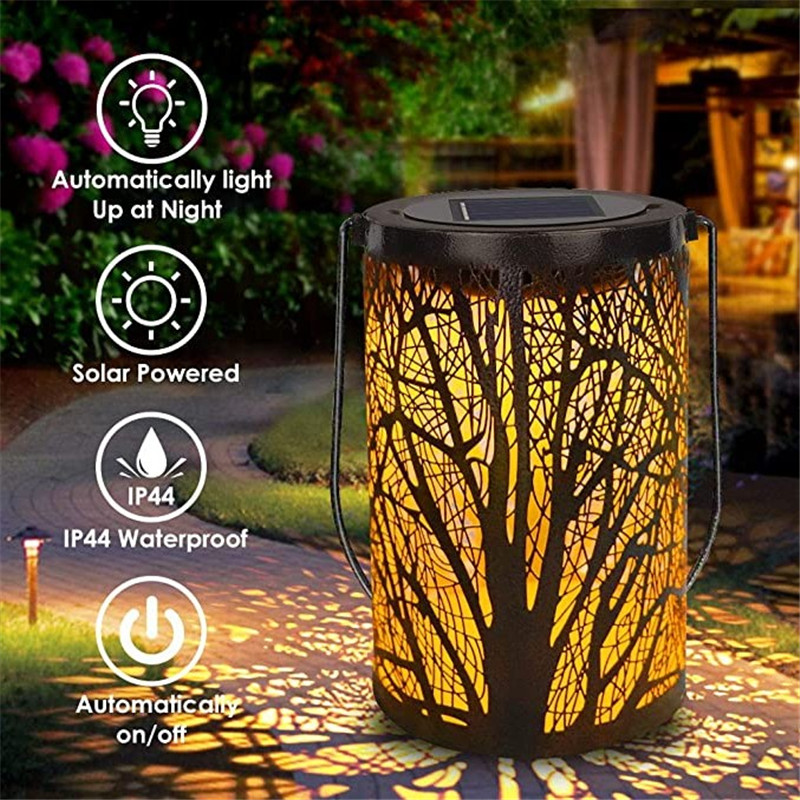Outdoor Lighting LED Solar Light Retro Lantern Hanging Solar Indoor Lamp For Garden Decorative Lights Metal Leaf Decor