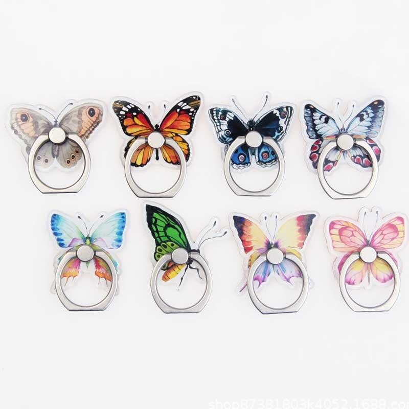 Colorful Butterfly Universal Phone Ring Holder Mobile Phone Holder Stand Finger Ring Holder Suporte Celular For IPhone Table
