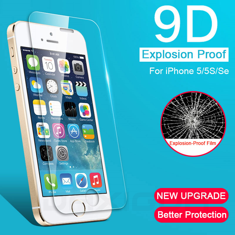 9D Full Cover Tempered Glass For iPhone 5 5S SE 4 4S Anti-Burst Tempered Screen Protector Glass For iPhone 5S SE Protective Film image