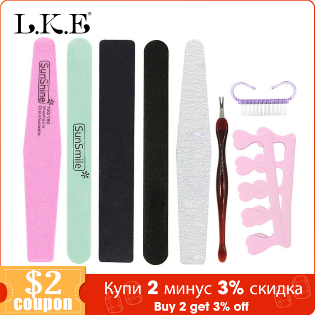 LKE 8 Pieces/lot Nail Art File Set Durable Buffing Grit Sand Block For Manicure Natural Nail Sponges Nail Art File Nail Buffers