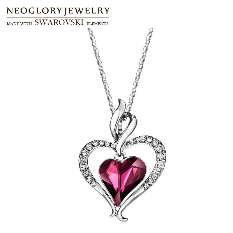 Neoglory Austria Crystal & Rhinestone Long Charm Pendant Statement Necklace Double Love Hearts Trendy Gift For Women Daily