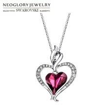 Neoglory Österreich Kristall & Strass Lange Charme Anhänger Aussage Halskette Doppel Liebe Herzen Trendy Geschenk Für Frauen Täglich