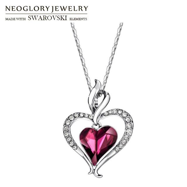 Neoglory áustria cristal & strass longo charme pingente colar de declaração duplo amor corações presente na moda para as mulheres diariamente