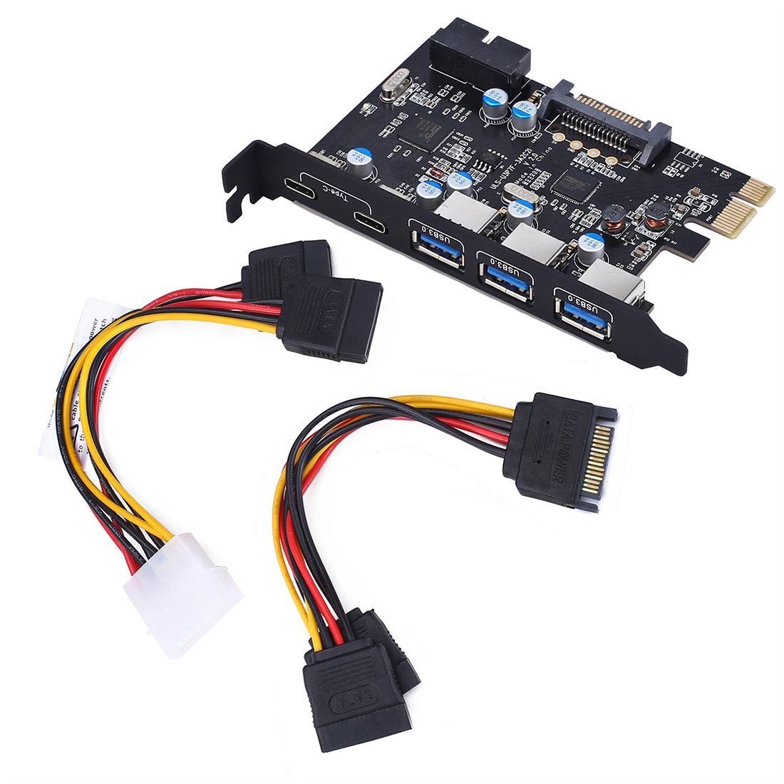 Add On Cards USB 3.0 PCI-E Type C Expansion Card PCI Express Controller Adapter 3x UBS3.0 + 2x USB 3.1 + 4Pin Power 15Pin SATA