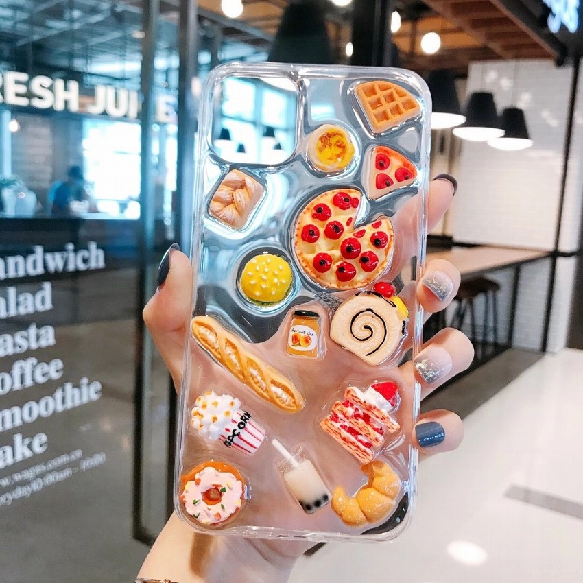 Cute 3D Cake Food Pizza Clear Lovely Soft Silicone Phone Case For Iphone 11 12 Pro Max Mini XS XR 7 8 Plus TPU Shockproof Cover
