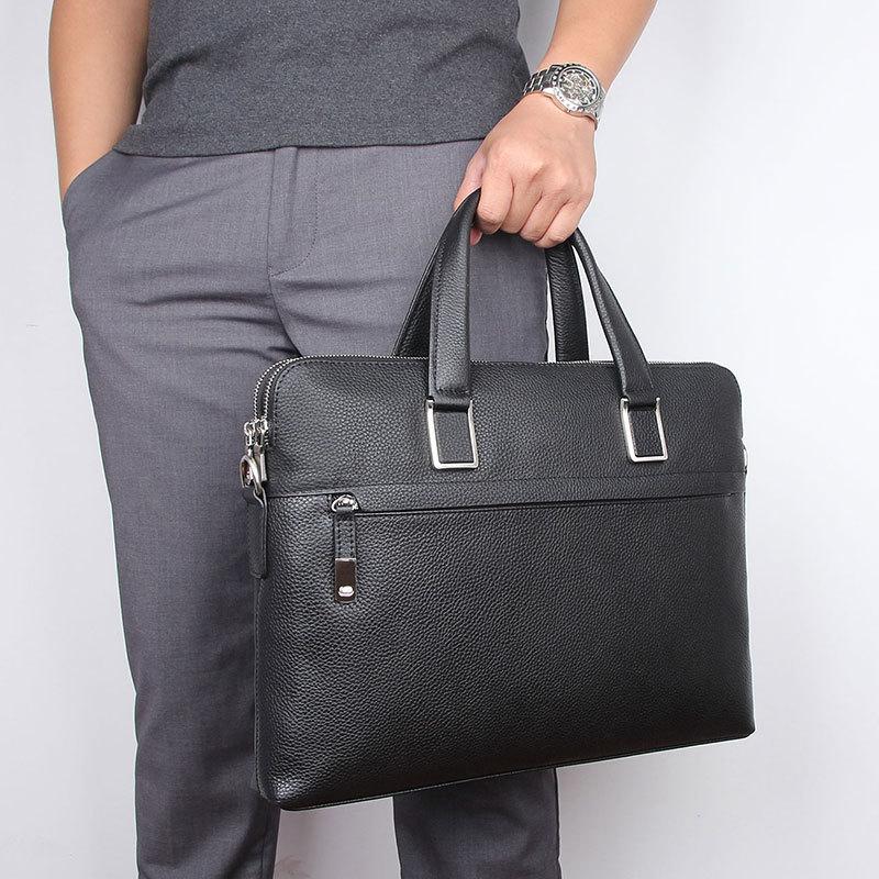 Nesitu Highend Black Chocolate Blue Genuine Leather 14'' Laptop Office Men's Briefcase Business Messenger Bag A4 Portfolio M7412
