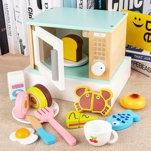 Dziecko udawaj zagraj w drewno kuchnia zabawki symulacja piekarnik tostery maszyna do chleba ekspres do kawy Blender zestaw do pieczenia zabawki do gier dla dziewczynek