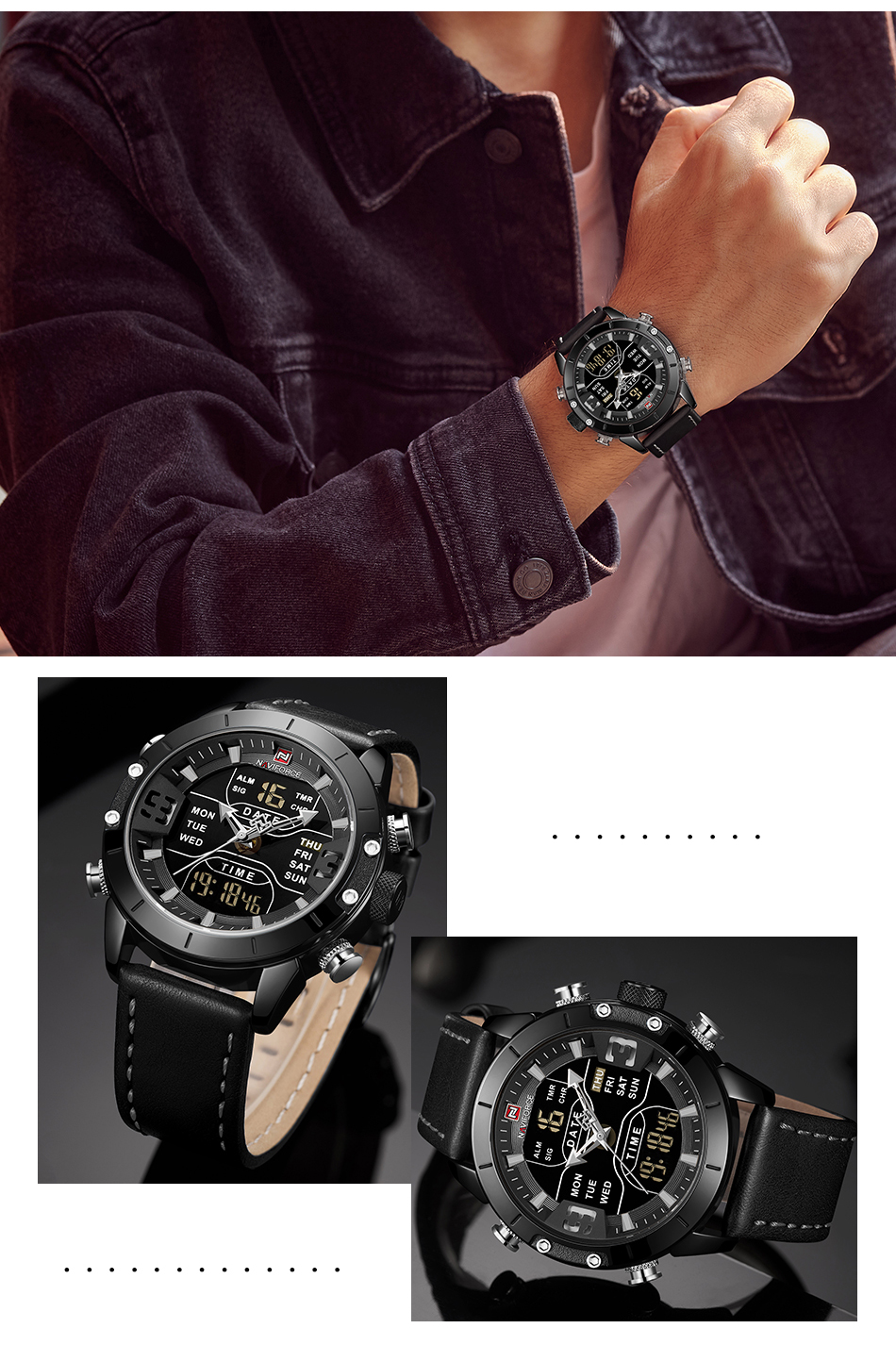 NAVIFORCE Mens Watches Top Brand Luxury Army Military Leather Mens Wristwatch Waterproof Digital Quartz Sports Watches Relogio (14)