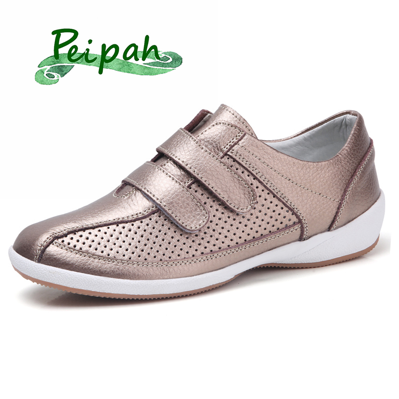 PEIPAH New Cut-Outs Genuine Leather Women Summer Shoes Woman Loafers Fashion Hollow Women's Flats Breathable Female Shoes
