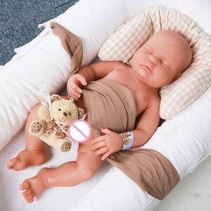 18 дюймов, мягкие силиконовые реалистичные куклы с закрытыми глазами для новорожденных мальчиков, силиконовые куклы для новорожденных