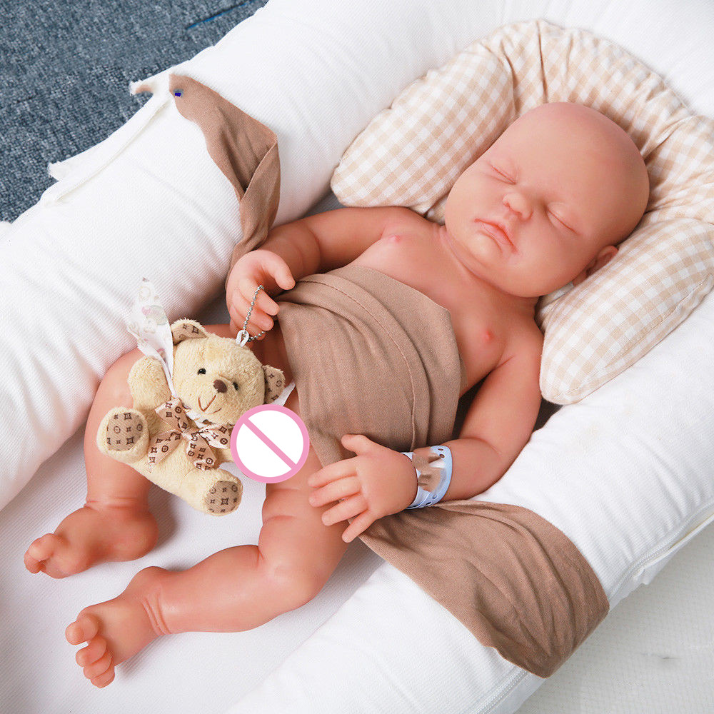 18'' Full Body Soft Silicone Realistic Doll Eyes Closed Reborn Baby BOY Silicone Reborn Baby Dolls