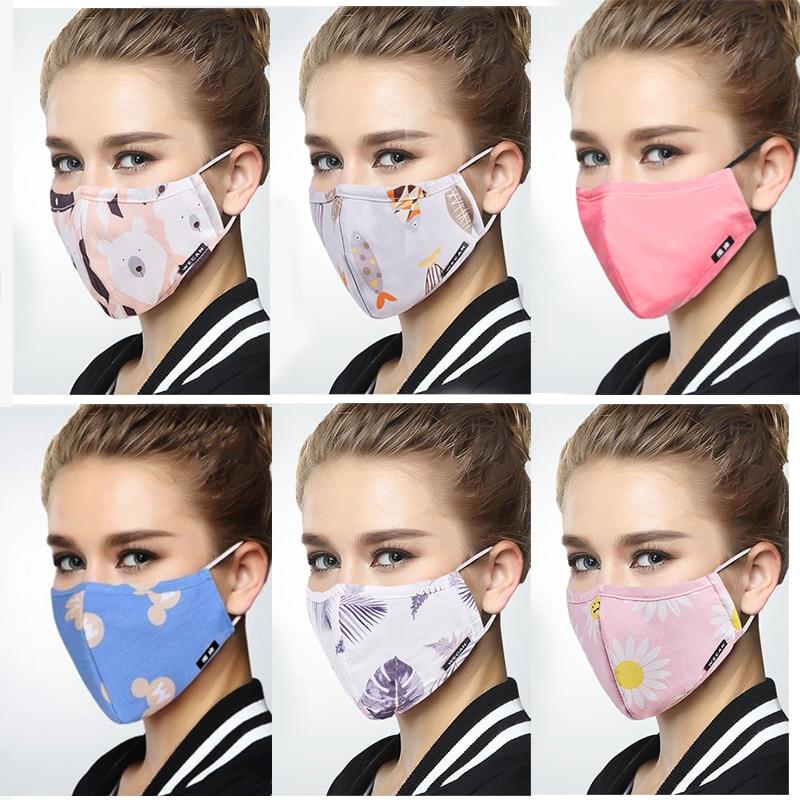 Korean Pop Dust Respirator Masks Anti virus Cotton Fabric Face Mask With Filter Anti PM2 5 Innrech Market.com