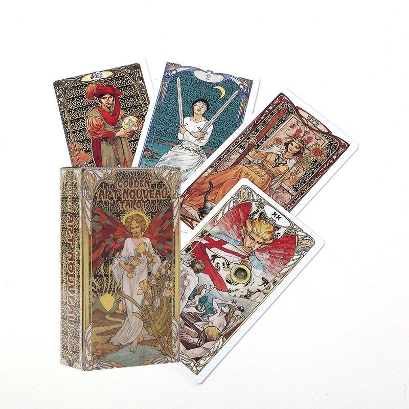 Cartas de Tarot nuevas, doradas, estilo Art Nouveau y Guidbook, juegos de mesa de juegos, cartas de Divination de Fate