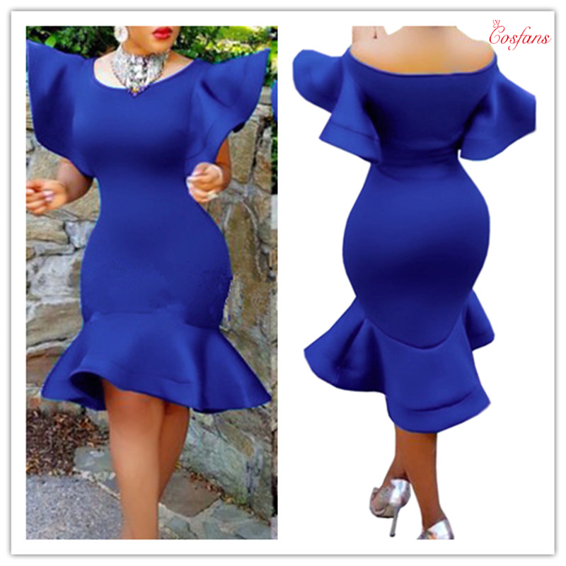 Ruffles Flare Sleeve Trumpet Mermaid Bodycon Slim Dress Plus Size Women Vintage Party Dresses Night Club Clothes Free Shipping
