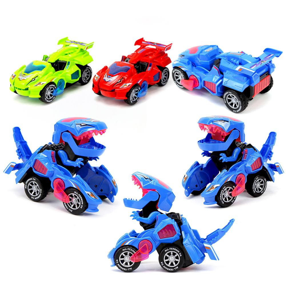 Electric Transforming Dinosaur 360 Rotating LED Car Deformable Kids Toy Gift Children Birthday Or Christmas Gift Baby Funny Toys