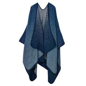 Image 5 - Manta Reversible de Invierno para mujer, suéter a cuadros, Poncho, capa, chal y chal, cárdigans gruesos, bufanda de pashmina cálida