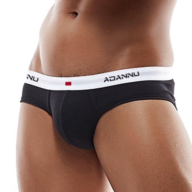 ADANNU Low Waist Underwear Men Briefs Cotton U Convex Comfortable Underpants Breathable Cueca Tanga