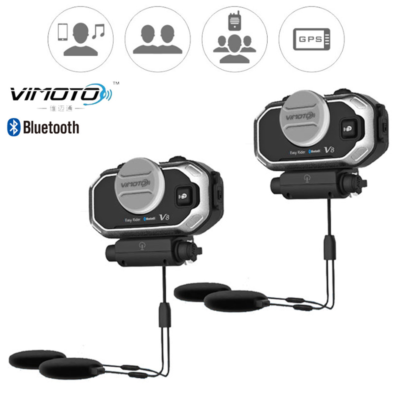 Versión en inglés Easy Rider vimoto V8 casco Bluetooth auriculares estéreo de motocicleta para teléfono móvil y GPS Radio de 2 vías