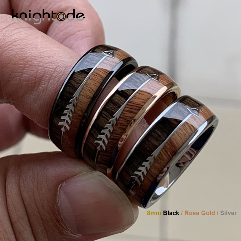 8/6mm Fashion Rose Gold Tungsten Carbide Wood Rings Women Men Classic Silver Engagement Band And Steel Arrow Inlay Black Style-in Wedding Bands from Jewelry & Accessories