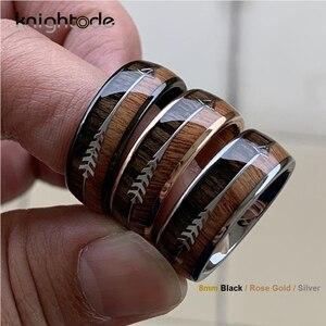 Image 1 - 8/6mm moda carboneto de tungstênio anéis de madeira seta de aço embutidos para homens feminino clássico anel de noivado cúpula banda polido conforto