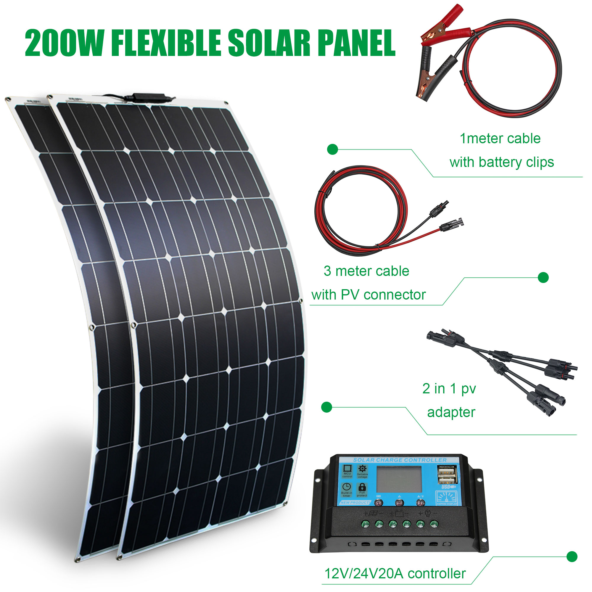 200W//100W//30W 12 V Double USB Panneau Solaire Chargeur Batterie Kit Bateau Voiture /& Contrôleur