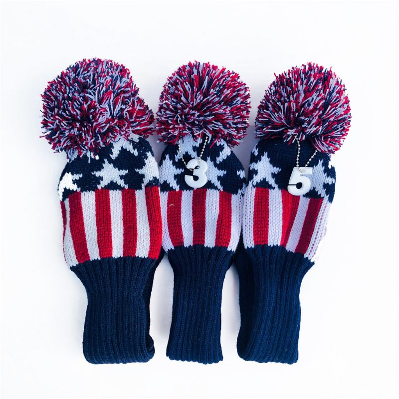 3 Pcs Vintage Knitted Golf Headcover Driver Sock Club Wood Head Covers Fit For Fairway Hybrid With Number Tags Protect