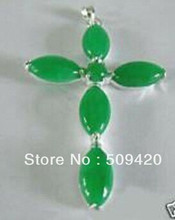 free shipping >>>>>5PCS Hot sell Simple fashion Green jade Cross Amulet Women's Pendant necklace+chain(China)