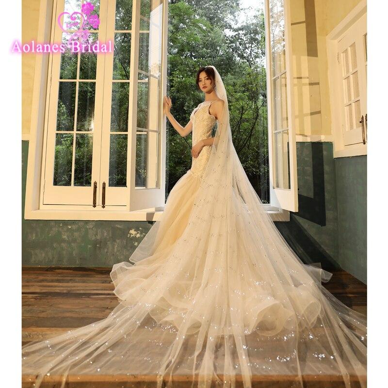 Роскошная блестящая мягкая фатиновая вуаль Veu de Voia, свадебная вуаль Combom 3,5 м, вуаль для невесты, один слой, блестящие свадебные аксессуары