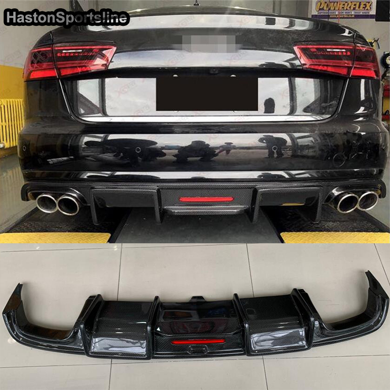 A6 <font><b>S6</b></font> Carbon Fiber <font><b>Rear</b></font> Bumper Lip <font><b>Diffuser</b></font> for <font><b>Audi</b></font> A6 C7.5 <font><b>S6</b></font> S-line Sedan 2016 2017 2018 (Not fit standard A6) image