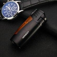 цена на 3 Torch jet Flame cigar Lighter Windproof Refillable Triple Jet Flame Butane Lighter Adjustable