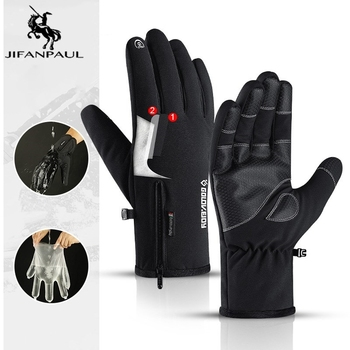 JIFANPAUL  winter new outdoor waterproof gloves men and women riding sports warmth velvet thick