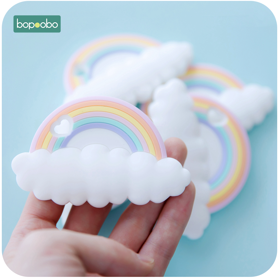 Bopoobo 10PC Silicone Rainbow Chewable BPA Free Rodent Teething Tiny Rod Baby Teethers Food Grade Silicone Teether Baby Products