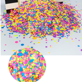 (by weight) 50g in 1 Confetti dot rainbow chunky glitter confetti glitter nail art neon glitter dots,1mm 2mm 3mm glitter shapes neon iridescent glitter mix dots moon purple white blue solvent resistant festival face hair glitter crafts