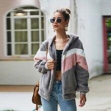 Women Autumn Fashion Hooded Plush Jacket Loose Solid Hoodie Fleece Cardigan Overcoat Casual Streetwear x
