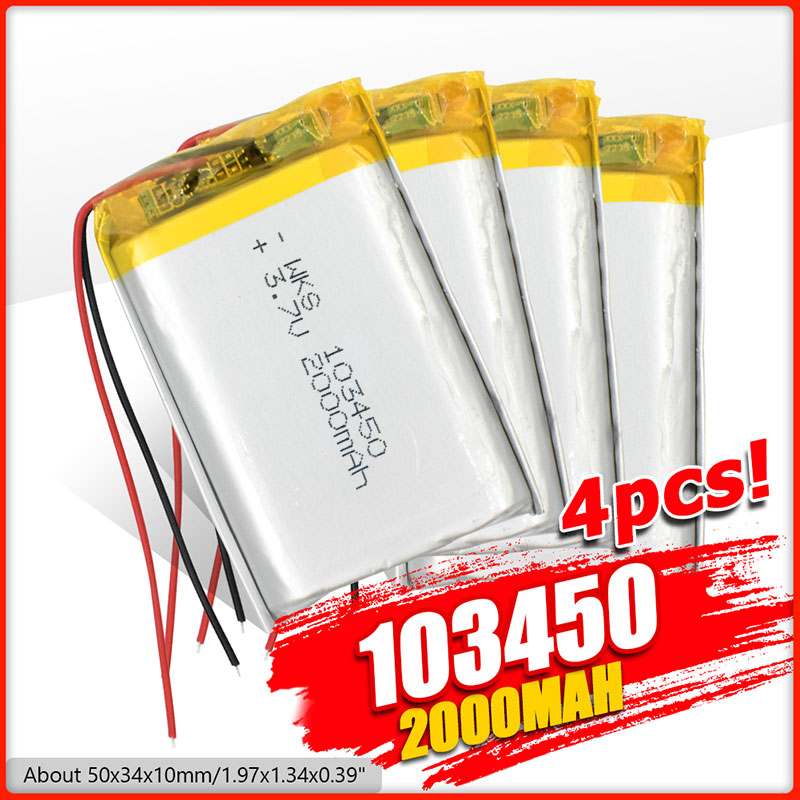 103450 3.7V 2000mAh Lipo Polymer Lithium Rechargeable Battery For GPS navigator GPS MP5 Bluetooth Speaker headset e-book camera