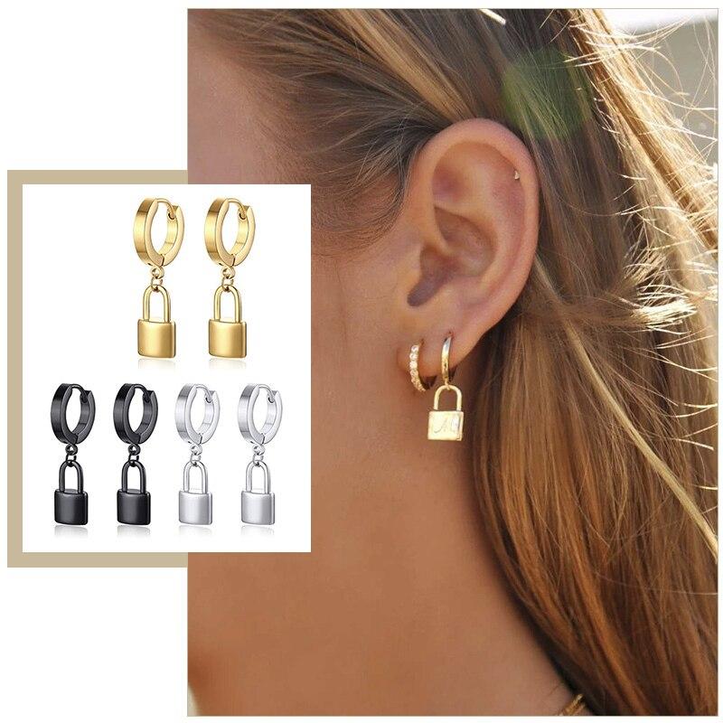 Vintage Small Padlock Huggie Earrings For Women Custom Initial Pad Lock Dangle Stainless Steel Hoop Earrings Punk Lady Jewerly