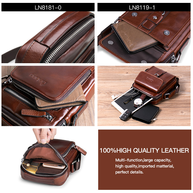 Image 3 - Men Bag Crossbody bag 100%genuine Leather Messenger Bag Men Shoulder Brown Bag Handbag Crossbody Vintage Cowhide Travel Male Bag-in Crossbody Bags from Luggage & Bags