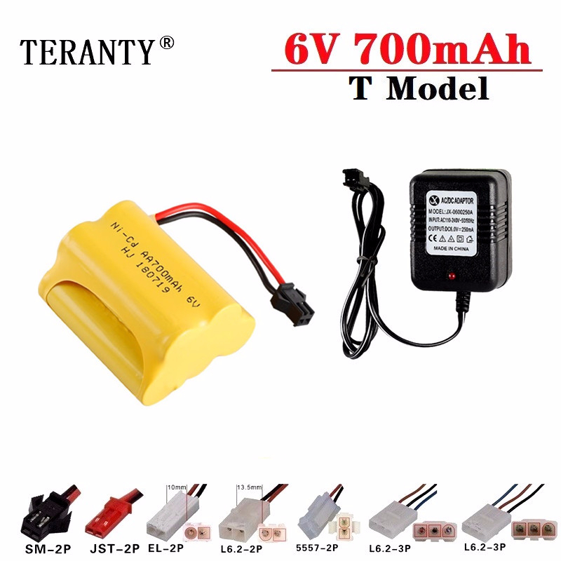 6v 700mAh Battery + 6v Charger For RC Cars Robots Tanks Truck Gun Boats 6v NiCD Battery Aa 700mah 6v Rechargeable Battery Pack image