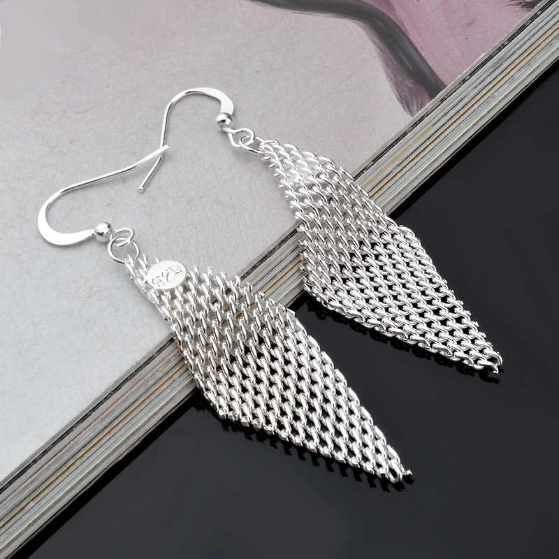 2019 Fashion 925 sterling silver jewelry earrings shaped mesh design Brinco Stud Earring for women with stamp Jewelry pendiente