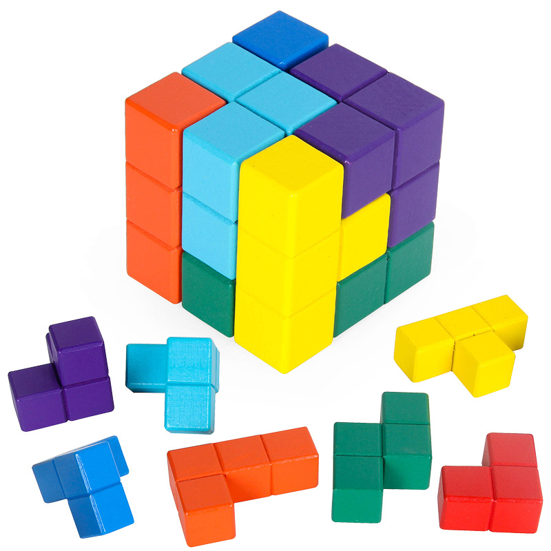 [Lion ISHUAI] Hot Sales CHILDREN'S Wooden Toy SUO-MA Building Blocks Square Cube Russia Jigsaw Puzzle Rubik's Cube