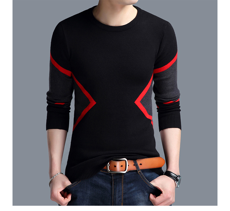 2019 Autumn Winter New Fashion Brand Clothing Men's Sweaters Breathable Slim Fit Men Pullover Contrast Color Knitted Men Sweater