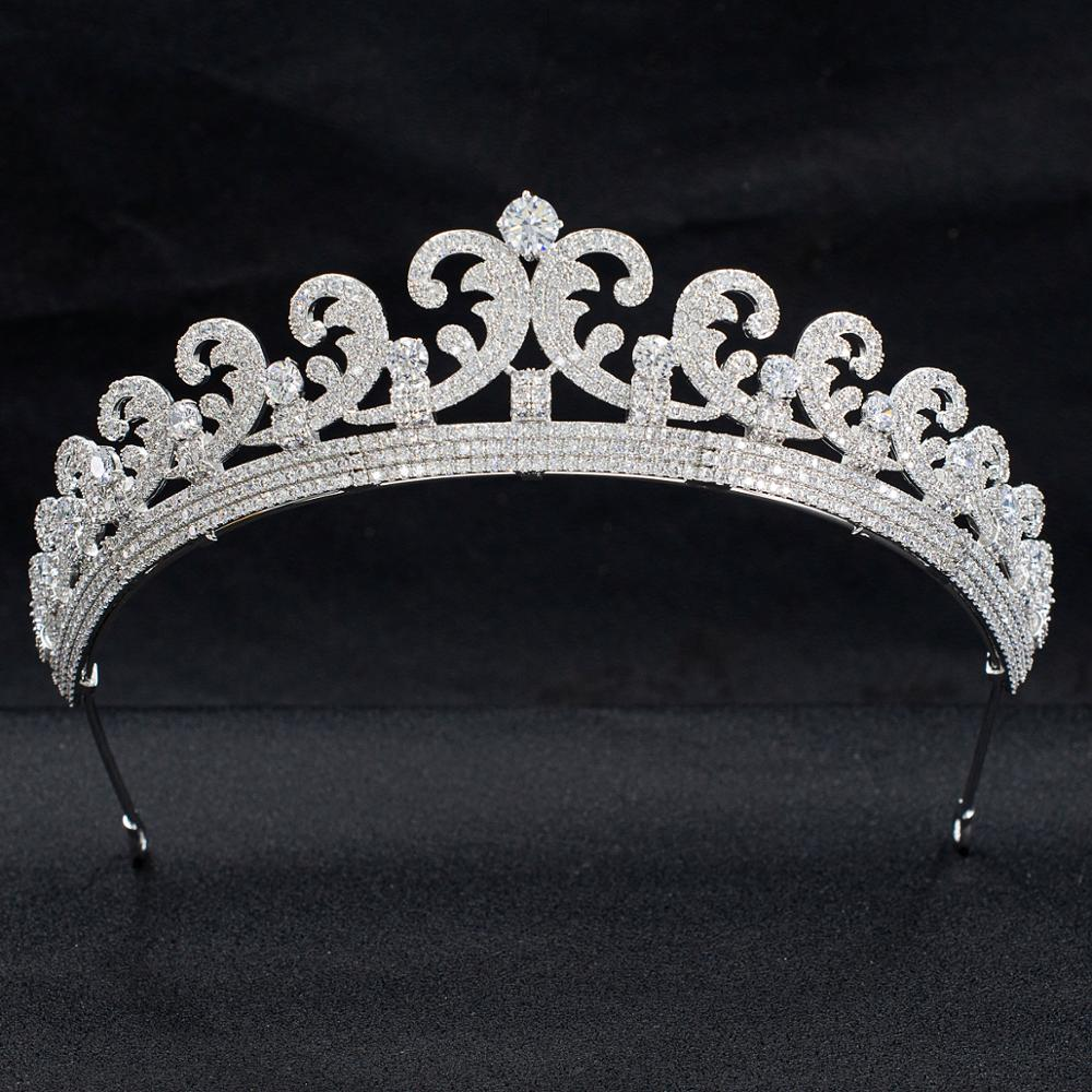 Gorgeous Cubic Zirconia Wave Wedding Bridal Princess Diana Tiara Crown Diadem Women Hair Jewelry Accessories CH10327