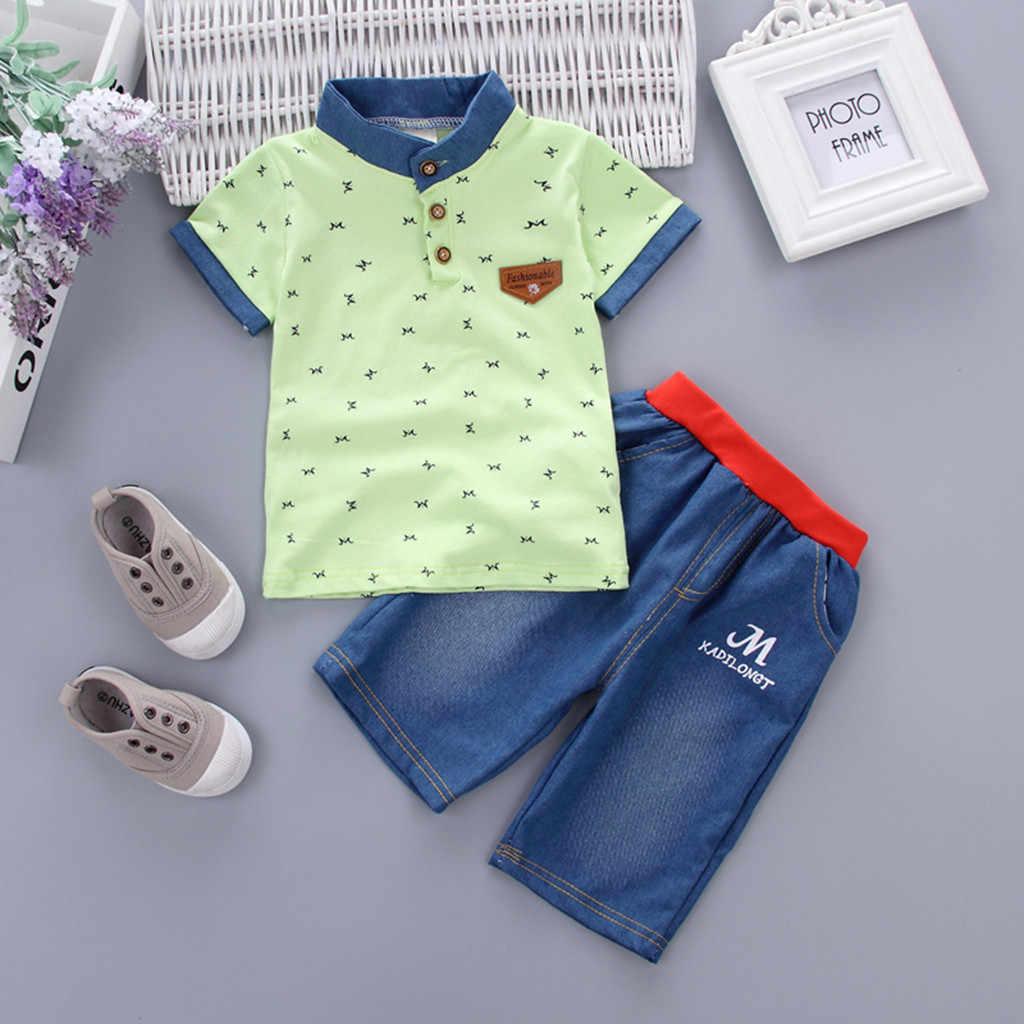Boys Kids Baroque Print Summer Short Sleeve  T-shirt Top and Shorts Set 2pcs