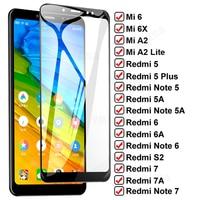 Vetro a copertura totale 11D per Xiaomi Mi 6 6X A2 Lite pellicola protettiva per schermo temperato Redmi 6A 7A S2 Note 7 6 Pro 5A 5 Plus pellicola protettiva