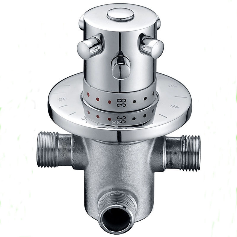 Thermostatic 1 Way Output Brass Shower Faucets Wall Mounted Cold&Hot Water Mixing Valve Mixer Tap for Shower Cabin Room