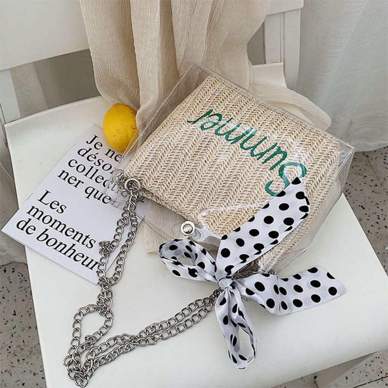 New chain single shoulder straddle bag fashionable transparent straw knitted handbag bow mobile phone ID composite bag in Top Handle Bags from Luggage Bags