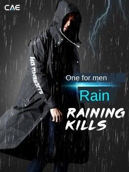 EVA Black Outdoor Hiking Adult Long Raincoat Men Women Alan Walker Pattern Travel Waterproof Hooded Rain Coat Poncho Umbrella