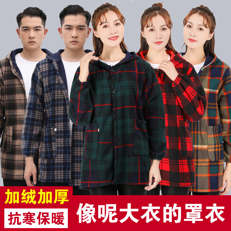 Down Jacket Overclothes Adults Winter Long Sleeve Brushed And Thick-Style Work Clothes Kitchen Apron Inverted Wear Protective Cl