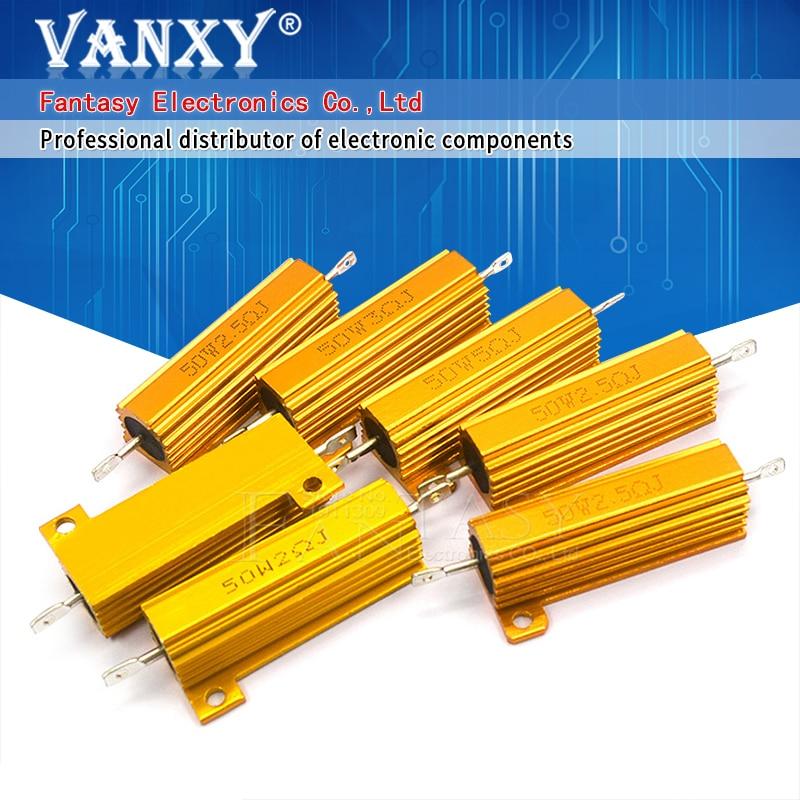50W 5% Aluminum Power Metal Shell Case Wirewound Resistor 1R 2R 3R 6R 8R 10R 1 2 3 6 8 10 ohm